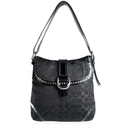 Coach Studded Lurex Flap Duffle Shoulder Handbag