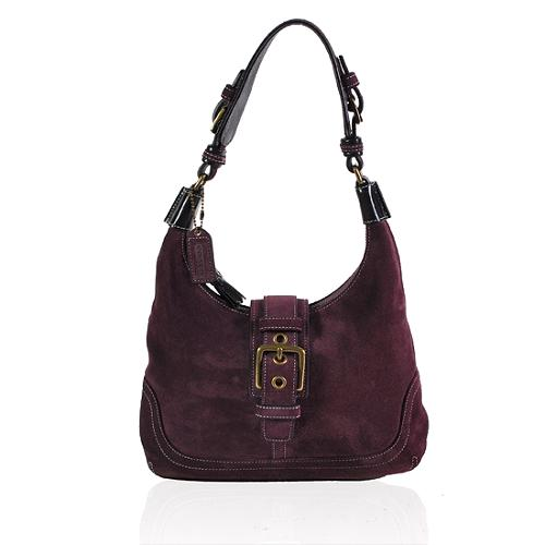 Coach Suede Flap Hobo Handbag