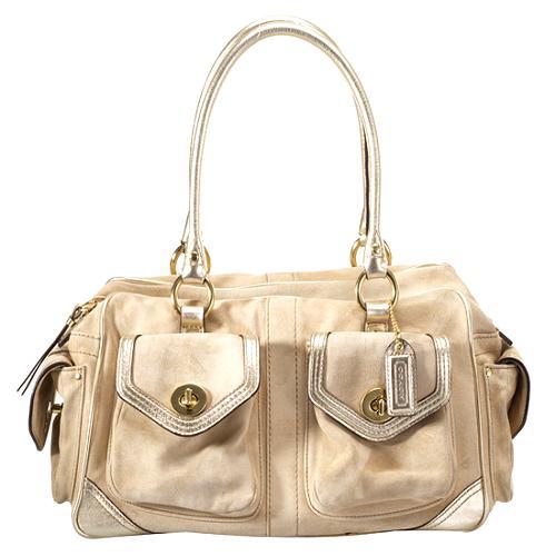 Coach Suede Legacy Satchel Handbag