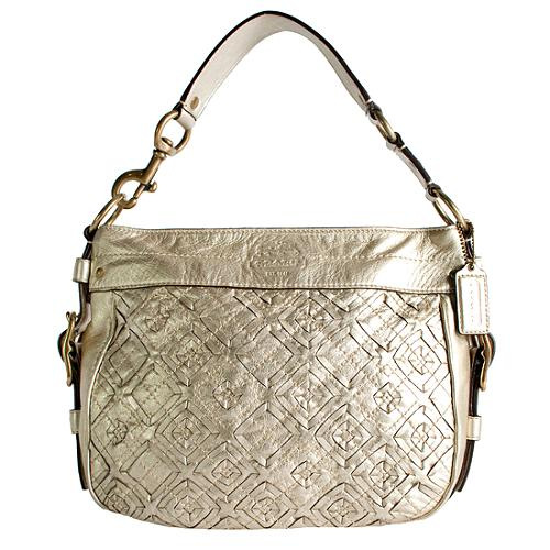 Coach Zoe Woven Leather Hobo Handbag