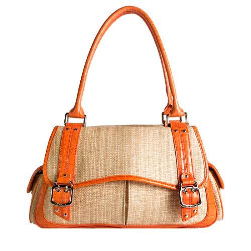 Cole Haan Amanda Flap Straw Satchel Handbag