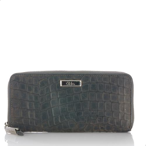 Cole Haan Croc Embossed Suede Capetown Travel Zip Wallet