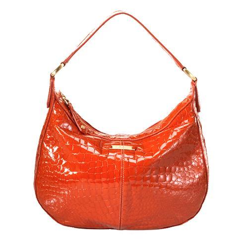 Cole Haan Croco Patent Small Hobo Handbag