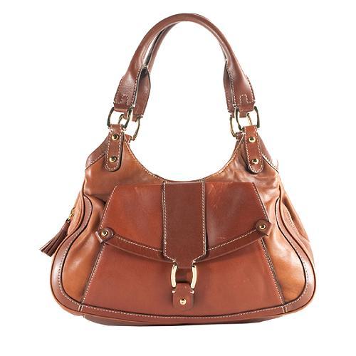 Cole Haan Leather Paige Triple Zip Satchel Handbag