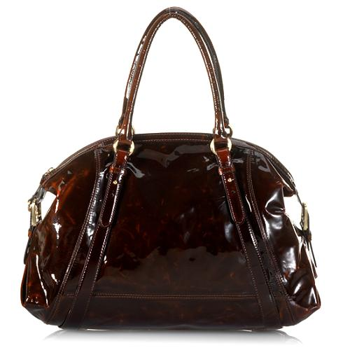 Cole Haan Patent Leather Village Dome Satchel Handbag
