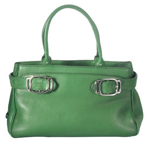 Cole Haan Pebbled Leather Buckle Satchel Handbag