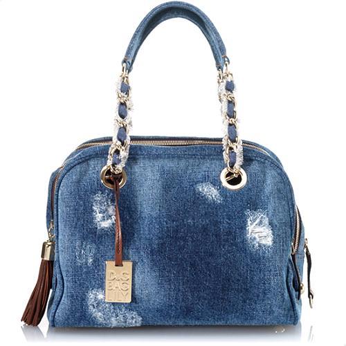 D&G 5-Zip Lilly Distressed Denim Satchel Handbag