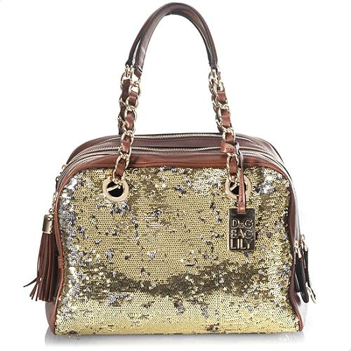 D&G 5-Zip Lily Bedazzeled Sequins and Leather Satchel Handbag