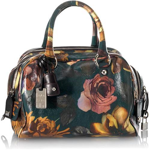 D&G Calfskin Medium Floral Pattern Lilly 5-Zip Handbag