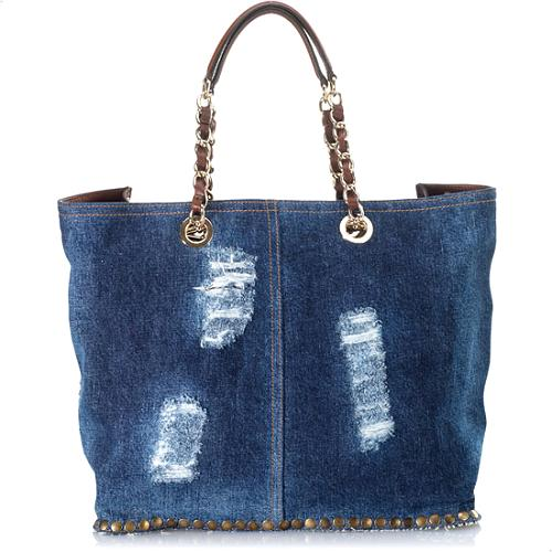 D&G Distressed Denim Chain Handled Tote