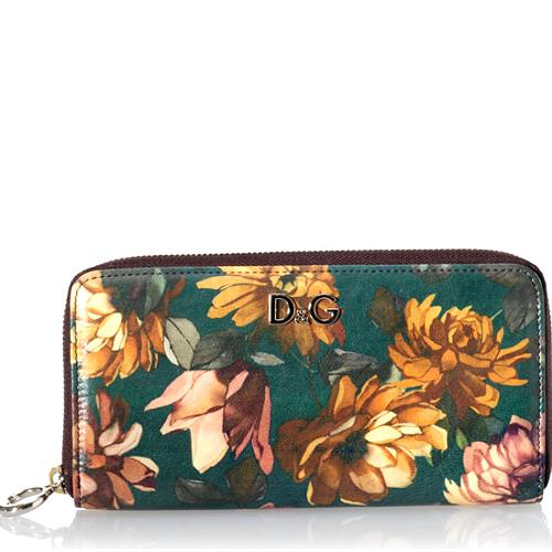 D&G Floral Patterned Continental Zip-Around Wallet