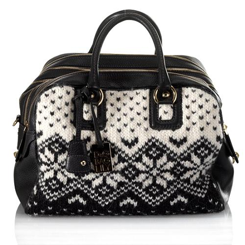 D&G Large 7-Zip Lily FairIsle Knit & Calfskin Satchel