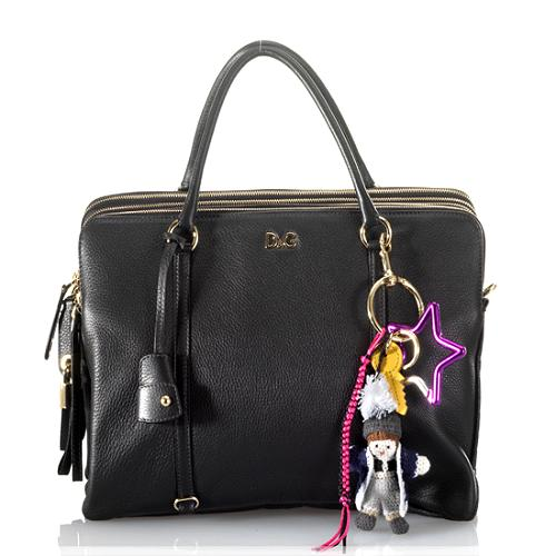 D&G Large LilyTwist 5-Zip Satchel Handbag with Charm