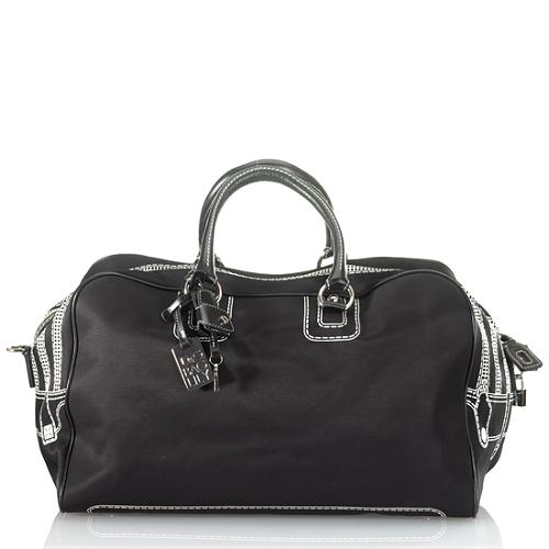 D G Lily Ghost Nylon Bag With Leather Handles Weekender
