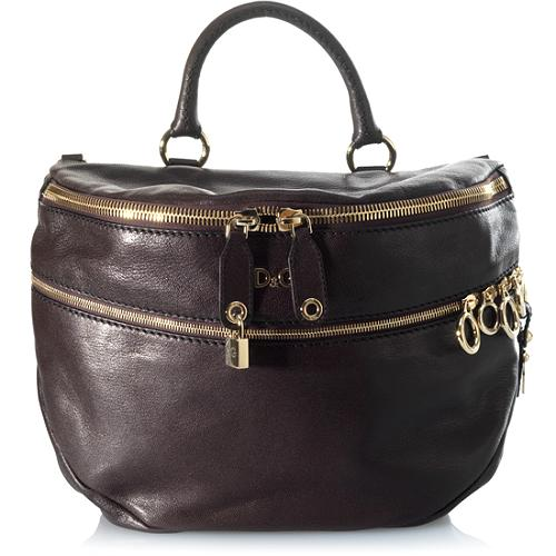 D&G Medium Jeri Polished Goatskin 2-Zip Satchel or Belt Handbag