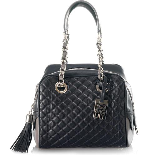 D&G Polished Calfskin Large Quilted Lily Glam Handbag