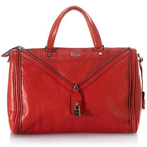 D&G Polished Calfskin Large Vilma Satchel Handbag