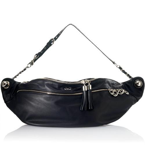 D&G Polished Calfskin Medium 2-Zip Jeri Handbag