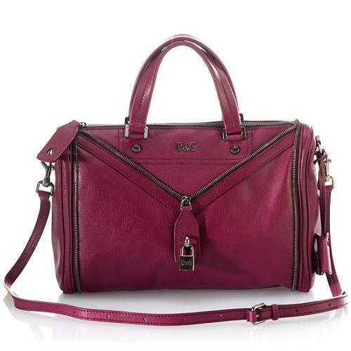 D&G Polished Calfskin MediumVilma Satchel Handbag w/Shoulder Strap