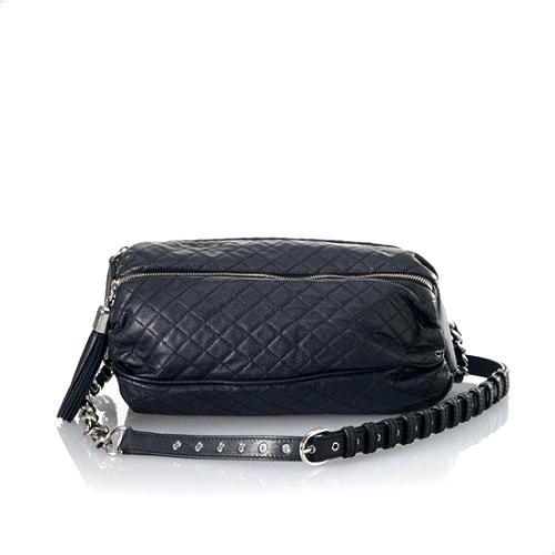 D&G Polished Calfskin Quilted Lily Glam 3-Zip Shoulder-Belt Handbag