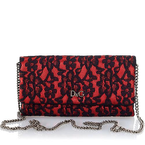 D&G Sasha Satin w/Lace Overlay and Chain Shoulder Strap Evening Handbag