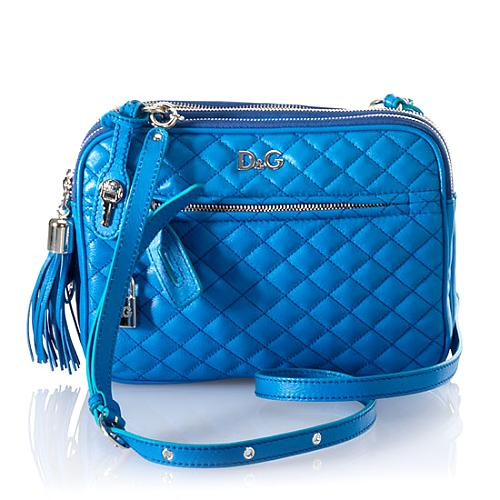 D&G Two-Tone Quilted Calfskin Small Lily Glam Handbag w/Shoulder Strap