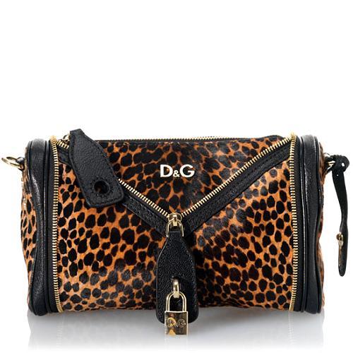 D&G Vilma Ocelot Pony Small Handbag w/Shoulder Strap