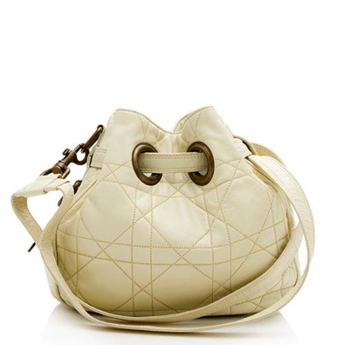 Christian Dior Leather Cannage Drawstring Small Tote