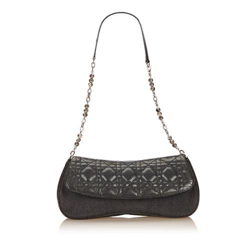 Dior Cannage Denim Shoulder Bag