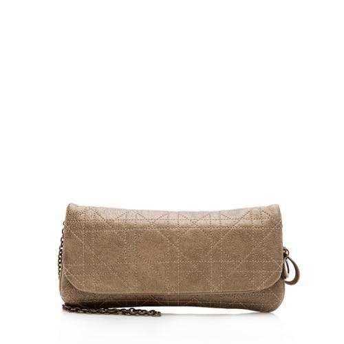 Dior Cannage Metallic Chain Clutch Crossbody Bag