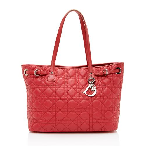 Dior Cannage Quilted Coated Canvas Panarea Medium Tote