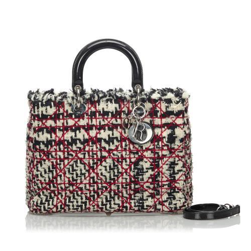 Dior Cannage Tweed Lady Dior Satchel