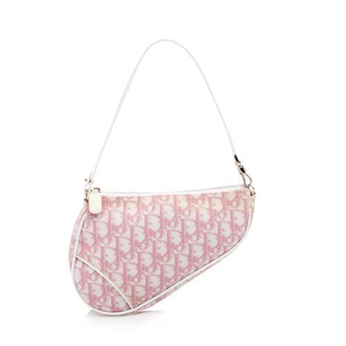 Dior Canvas Girly Logo Mini Saddle Bag