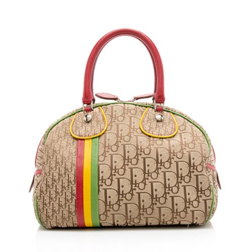 Dior Canvas Logo Rasta Bowler Bag