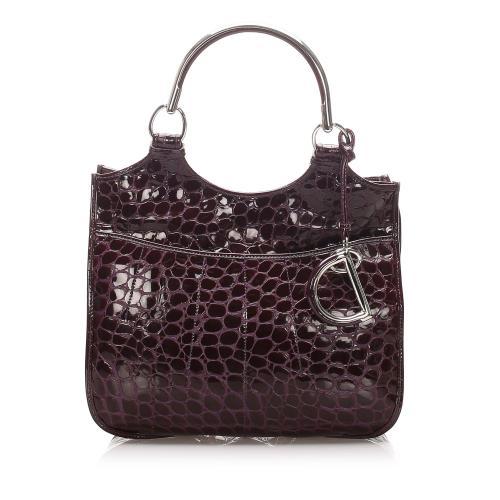 Dior Croc Embossed Patent Leather Dior 61 Shoulder Bag