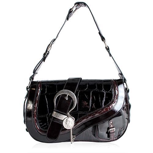 Dior Croc Embossed Patent Leather Gaucho Handbag