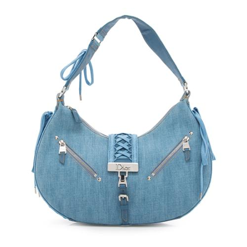 Dior Denim Admit It Lace Up Hobo