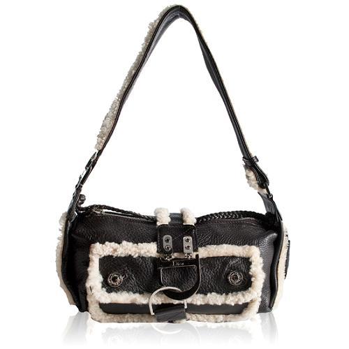 Dior East/West Shearling Flight Shoulder Handbag