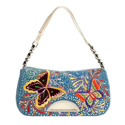 Dior Embroidered Denim Malice Butterfly Shoulder Handbag