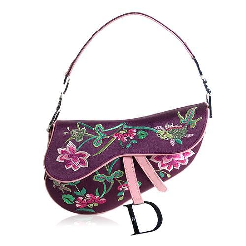 Dior Fish Embroidery Saddle Shoulder Handbag