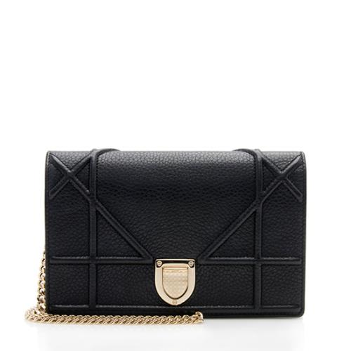 Dior Grained Leather Diorama Wallet on Chain Bag
