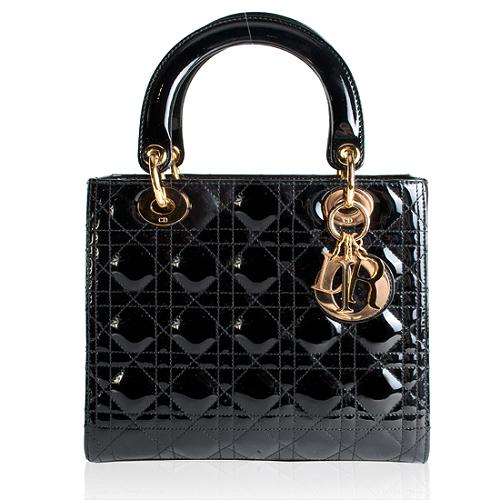 Dior Lady Dior Cannage Patent Leather Tote