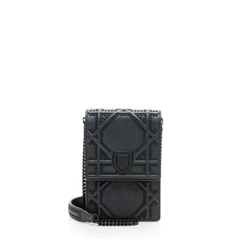 Dior Leather Studded Diorama Vertical Clutch on Chain Bag