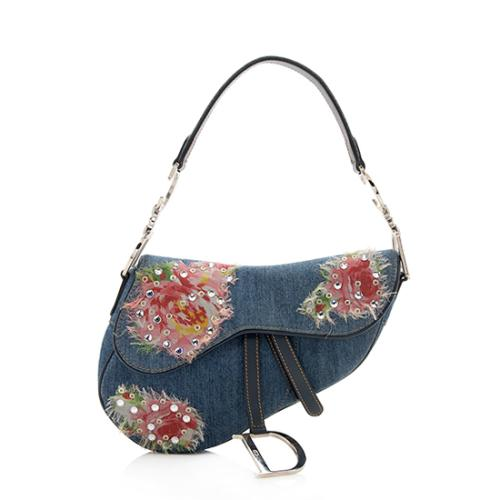 Dior Limited Edition Denim Crystal Patchwork Saddle Bag