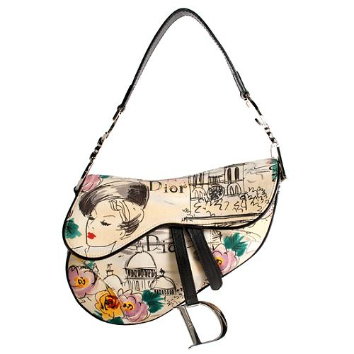 Dior Limited Edition Paris 50s Saddle Shoulder Handbag
