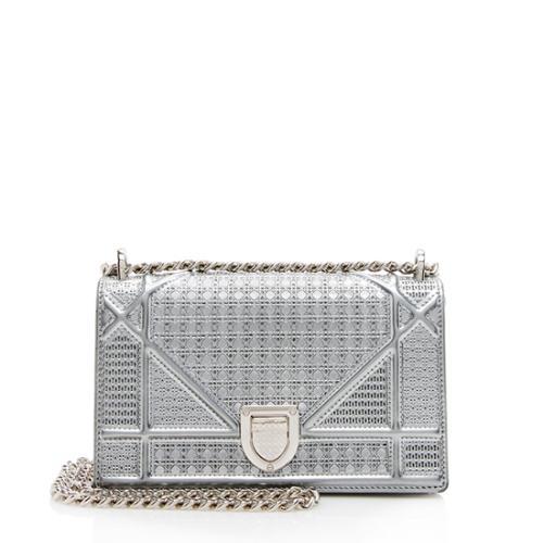 Dior Metallic Calfskin Micro Cannage Mini Diorama Shoulder Bag