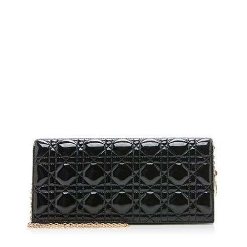 Dior Patent Leather Cannage Lady Dior Convertible Clutch