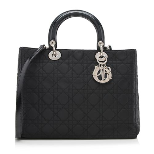 Dior Quilted Nylon Lady Dior Large Tote