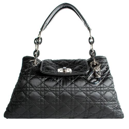Dior Quilted Satin Cannage Charming Lock Satchel Handbag