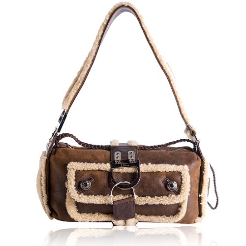 Dior Shearling Flight East/West Shoulder Handbag